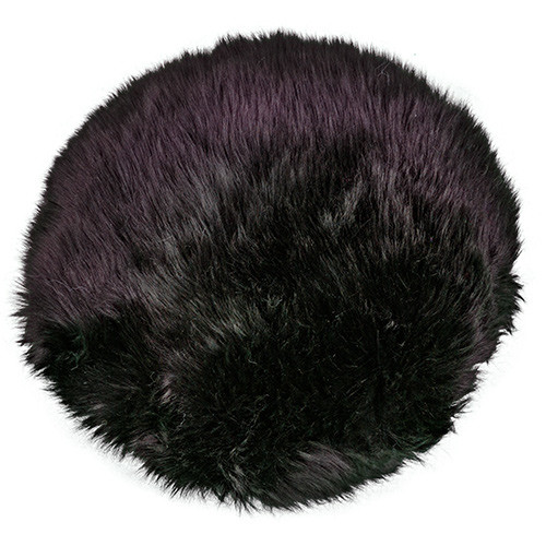 Black Round Sheepskin Pillow