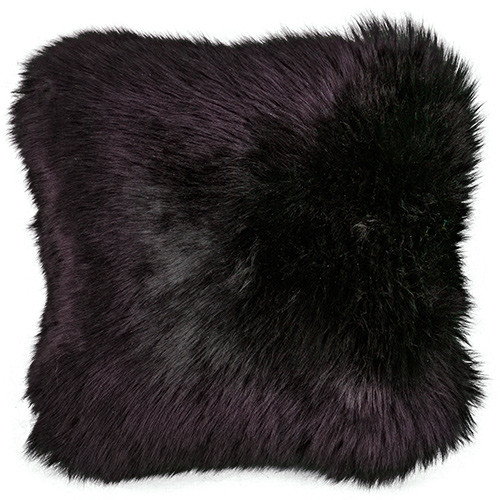 Black Square Sheepskin Pillow