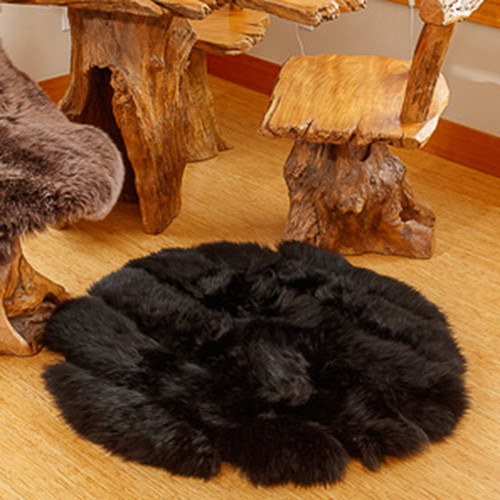 Black Round Sheepskin Rug
