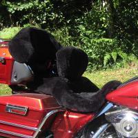 Sheepskin Motorcycle Seat Covers Harley Black