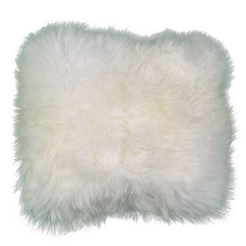 White Square Sheepskin Pillow