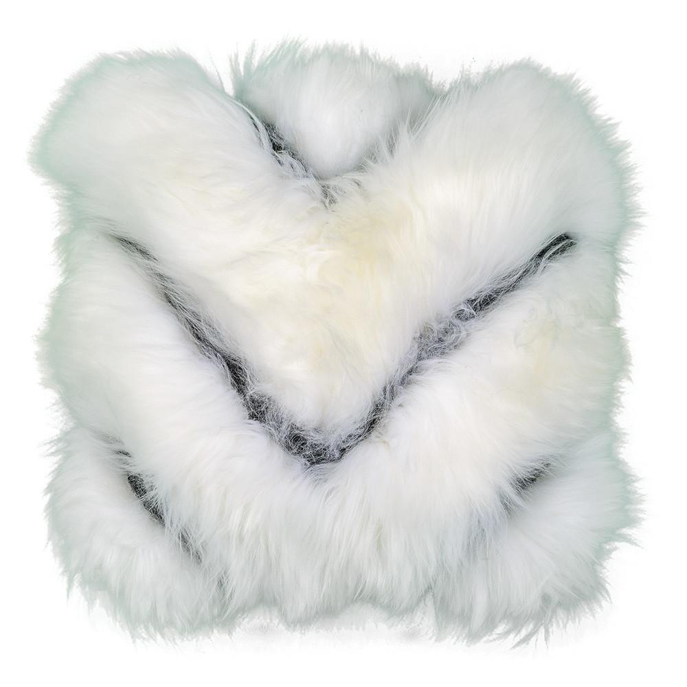 White Black Chevron Sheepskin Pillow