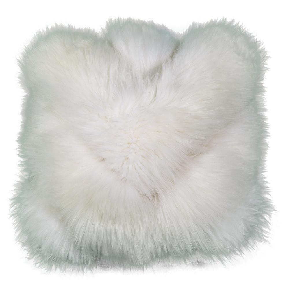 White Chevron Sheepskin Pillow