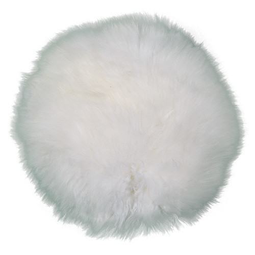 White Round Sheepskin Pillow