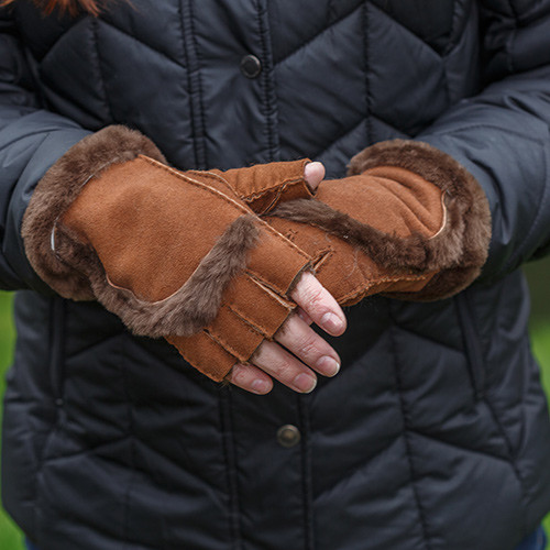 Sheepskin Fingerless Gloves