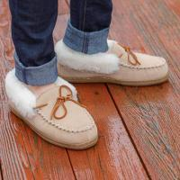 Sheepskin Slippers Moccasin Roll Cuff