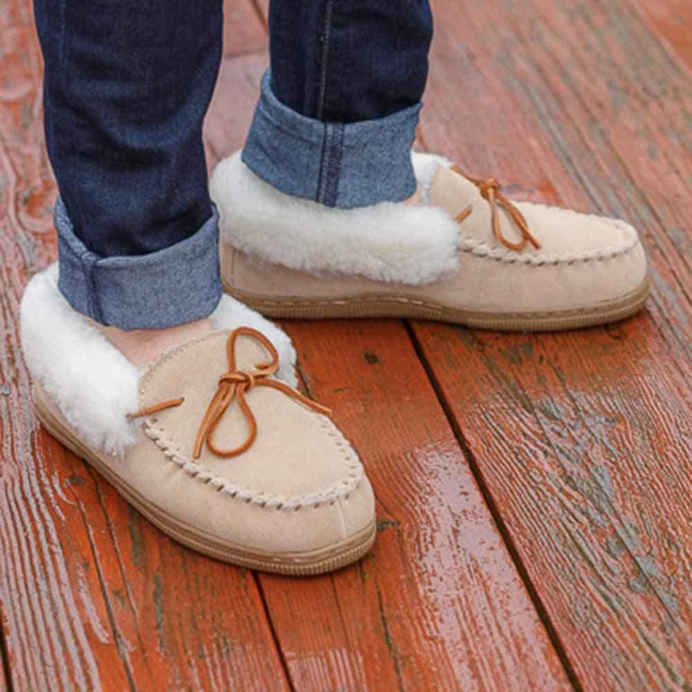 Sheepskin Slippers Moccasin Roll Cuff
