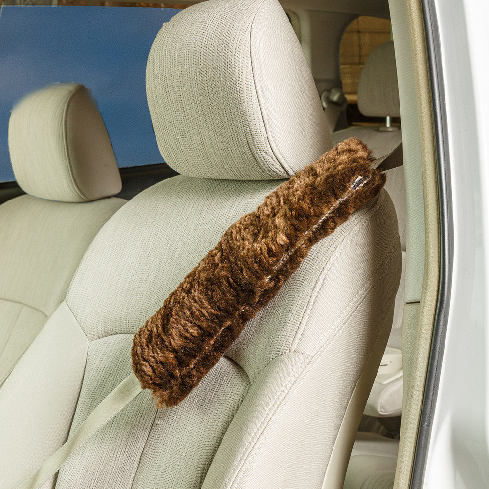 Details about  /Andalus Authentic Sheepskin Car Seat Belt Cover 1 Piece Brown Soft Shoulder Pad